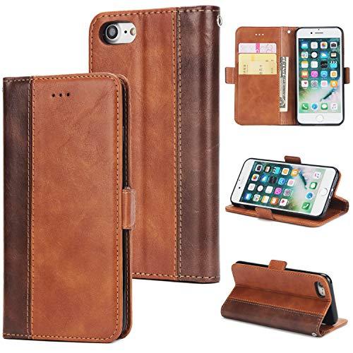 KAMILEO iPhone 7/8 Hülle Leder Wallet Tasche Flip Case Handyhülle Schutzhülle