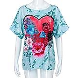 MRULIC Nuue T-Shirt mit Bändern Beliebte Skull Head Muster Bluse für Damen Sommer Sweatshirt (EU-36/CN-S, X-Grün)