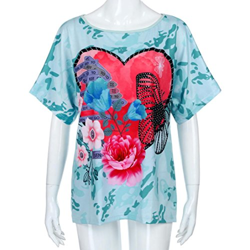 MRULIC Nuue T-Shirt mit Bändern Beliebte Skull Head Muster Bluse für Damen Sommer Sweatshirt (EU-42/CN-XL, X-Grün) (Xl Skull Head)