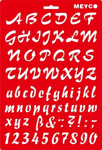 Schablone Buchstaben und Zahlen Schreibschrift