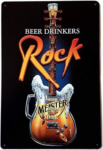Sumik Beer Drinkers Rock Music Guitar, Metal Tin Sign, Vintage Art Poster Plaque Home Bedroom Wall Decor