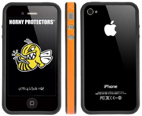 Horny Protectors Bumper für Apple iPhone 4 rosa/weiß mit Metallbutton orange/schwarz