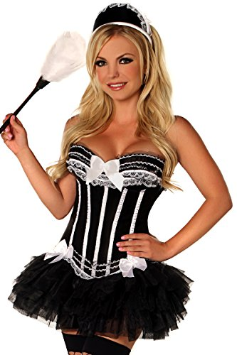Daisy Corsetts Damen 4-teiliges Pin-Up-Kostüm - Schwarz - - Pin Up Kostüm Korsett