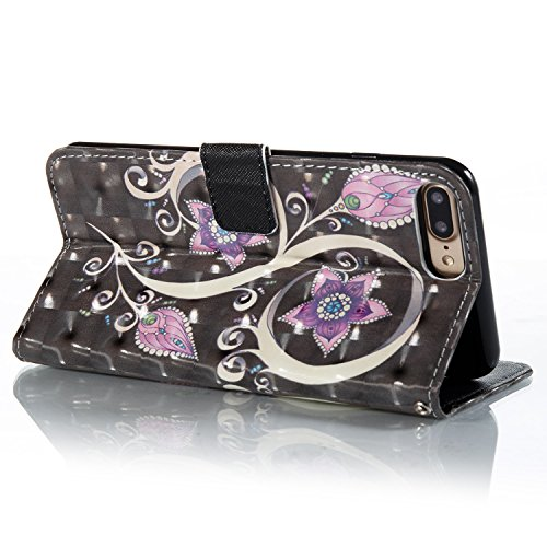 iPhone 7 Plus Coque Luxury Embossed Hearts en PU Cuir 2 x Pièce Strass Bling Cover, Sunroyal Luxe Phone Housse Purse 2 en 1 Wallet Etui Pochette Case Cartes Slots Absorption de Choc Bumper avec TPU In Désign 04