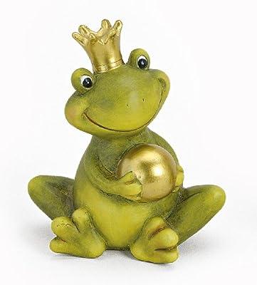 Dekofigur Gartenfigur Frosch Froschkönig grün mit Goldkugel aus Keramik Höhe 15 cm groß, witzige Figur als Garten Deko in Stein Optik von Tempelwelt auf Du und dein Garten