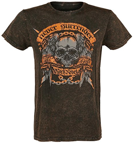 Rock Rebel by EMP Never Surrender Crincle Roundneck T-Shirt braun Braun