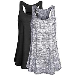 Luzoeo Mujer Camiseta sin Mangas Verano Deporte de Gimnasio Yoga Tirantes de Fitness Tops Suelta Sujetador Deportivo para Mujeres