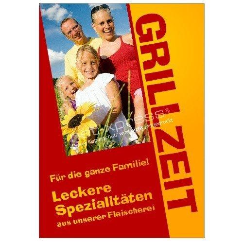 Grill-Plakat für die Werbung zur Grillsaison A1, Werbeplakat Poster Metzgerei (Xpress Grill)