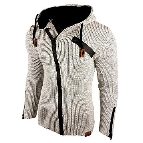 Strickjacke Cardigan Grob Strick Pullover Pulli Grau Schwarz Zipper RN-13271 Grau