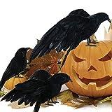 Duless Halloween réaliste Faite à la Main Recherche Halloween Décoration Oiseaux Noir à Plumes Corbeaux pour l'intérieur et l'extérieur Corbeau Décoration (Lot de 3)