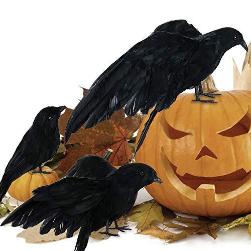 Duless Halloween Realistische Handgefertigt Aussehende Halloween Dekoration Birds schwarz gefiederten Crows für draußen und Innen Crow Dekoration (3PCS)