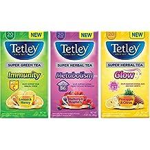 Tetley Super Tea 3 Flavor Variety Bundle, 1 each: Blueberry & Raspberry Metabolism, Pineapple Citrus Glow, and Lemon Honey Immunity Green (20 Count Ea.)