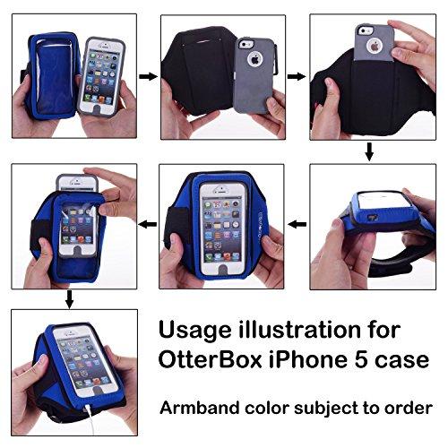 Wisdompro® Brassard pour Otterbox Defender/Commuter Series/LifeProof Cases pour iPhone 5S/5/5C/SE et iPod Touch 5/6avec organiseur pour écouteurs et porte clé Rose vif