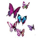 joyliveCY 3D Schmetterlinge im 3D-Style 12-Stück Wanddekoration mit Klebepunkten zur Fixierung Die Farbe Lila