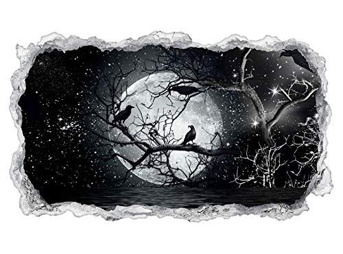 3D Wandtattoo Vollmond Raben Baum Halloween Wand Aufkleber Durchbruch Stein selbstklebend Wandbild Wandsticker 11N772, Wandbild Größe F:ca. ()