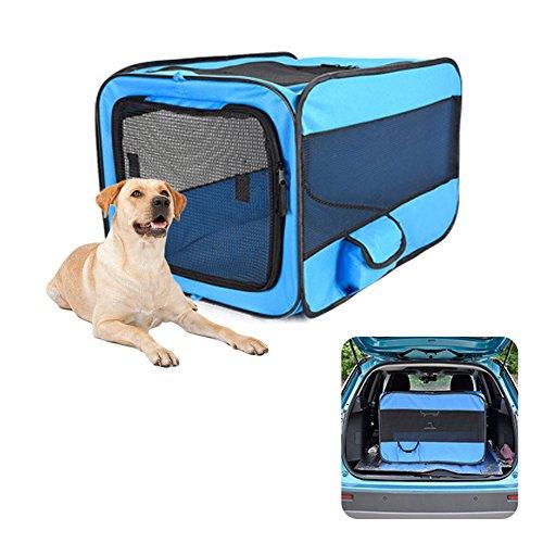 PetEnjoy Pet Carrier Kisten Tragbar erweiterbar Weiche Seiten Hundehütte Auto Sitz Animal Reisetasche Carrier mit Mesh Top Pop up Käfig für Hunde und Katzen, Medium, Blau (Pop-up-katze Käfig)