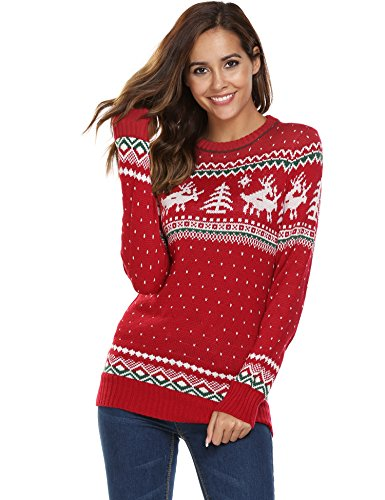 *SOTEER Weihnachtspullover Pullis Strickmantel Sweatshirt Cardigan Langarm Top Oberteil Festlich Unisex Schwarz Rot (M: EU 36-38, TYP3: PAT2)*