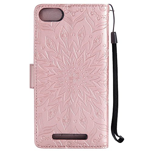 Für Wiko Lenny 3 Fall, Prägen Sonnenblume Magnetische Muster Premium Soft PU Leder Brieftasche Stand Case Cover mit Lanyard & Halter & Card Slots ( Color : Red ) Rose Gold