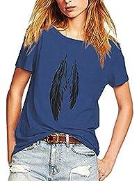 Kangrunmy- T-Shirt Imprimé Plume Femme Loose Lache Casual Chic Mode Ete Col  Rond Manche Courte Grande Taille Tee Tshirt Blouse Haut… 05230b7a13a