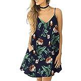 Culater Vestido Fashion Women's Sexy V-Neck Print Camisole Sleeveless Pocket Dress Verde 2XL