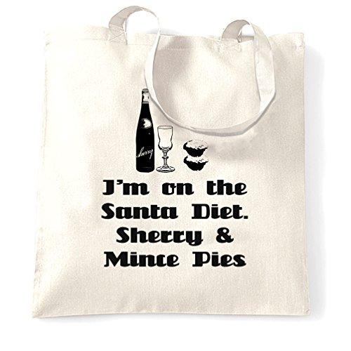 Natale Sacchetto Di Tote Sherry e mince pies dieta Holiday Season Inverno Slogan White