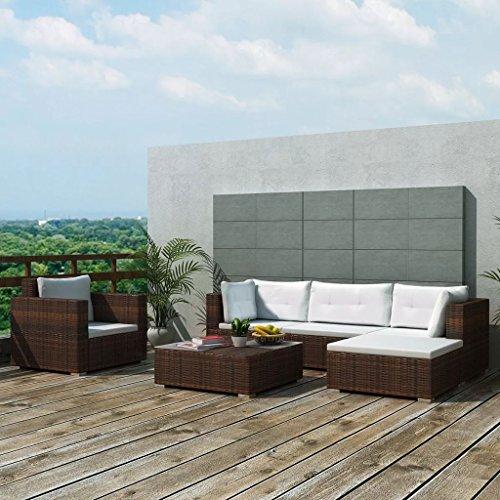 binzhoueushopping Gartensofa, 17-teilig, braun, ausziehbar, Maße des Sofas einfach, 70 x 65 x 66,5 cm (B x T x H) Sofa Wohnzimmer Polyrattan