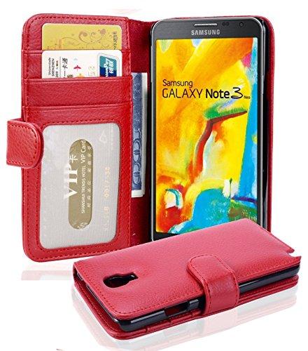 Cadorabo Hülle für Samsung Galaxy Note 3 NEO - Hülle in Inferno ROT - Handyhülle mit 3 Kartenfächern - Case Cover Schutzhülle Etui Tasche Book Klapp Style