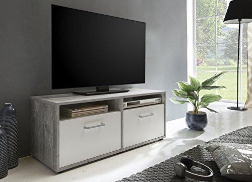 """Beauty.Scouts Möbel Collection Semper TV-Lowboard Frank 3"""", Beton/weiß, 95 x 40 x 37 cm, 2 Klappen, 2 offene Fächer, Lowboard"""
