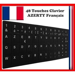 Sticker Selbstklebend AZERTY schwarz für Tasten Notebook-Tastatur für Renovierung oder Umwandlung von Tastatur QWERTY in AZERTY
