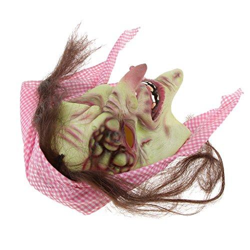 SunniMix Halloween Gruselige Maske Gruselige Hexe Masken Mit Haar Hut Cosplay Kostüm Requisiten - Alte Hexe