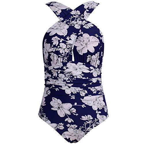 WUDUBE_Badeanzüge Damen Shirt mit floralem rückenfreiem Bikini, hoher Taille, einteiliger Badeanzug Plus