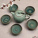 Exklusives asiatisches Gong Fu Cha Teeservice Charms (kleine Kanne mit 5 Teeschalen) aus hochwertigem Seladon-Porzellan