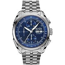Bulova Accu Swiss Tellaro–Orologio automatico da uomo con quadrante Cronografo Blu e Cinturino Argento in Acciaio Inox 63C121