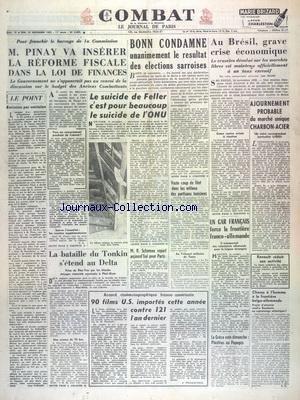 COMBAT [No 2603] du 15/11/1952 - PINAY VA INSERER ...