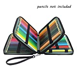 Laconile 124 Holder 4 Layers Large Capacity PU Leather School Pencil Case Bag for Coloured Pencils Watercolour Pencil Arts (Black)