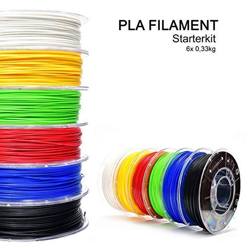 storeHD-Filaments PLA Filament Starterkit Weiß, Rot, Gelb, Grün, Blau & Schwarz (6 x 0,33 kg) 1.75mm, PLA Filament in Premium Qualität für 3D-Drucker - Hergestellt in Europa