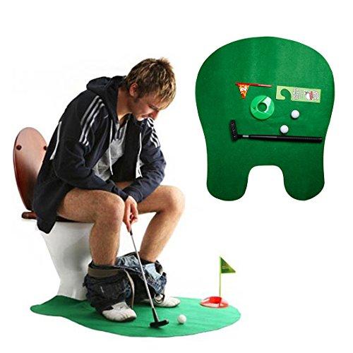 Andux wc salle de bain mini golf set pot putter golf jeu de toilettes vert WC-01