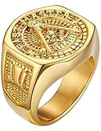 NALATI Fashion moderner Herren 18K Goldtitanstahlring Siegel Stempel Muster Ring
