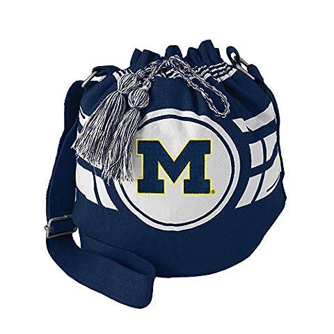 NCAA Michigan Wolverines Womens NCAA Ripple Drawstring Bucket Bag, Navy, 12