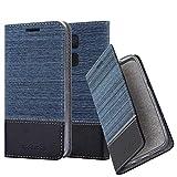 Cadorabo Hülle für BQ Aquaris V/Vs Plus - Hülle in DUNKEL BLAU SCHWARZ – Handyhülle mit Standfunktion und Kartenfach im Stoff Design - Case Cover Schutzhülle Etui Tasche Book