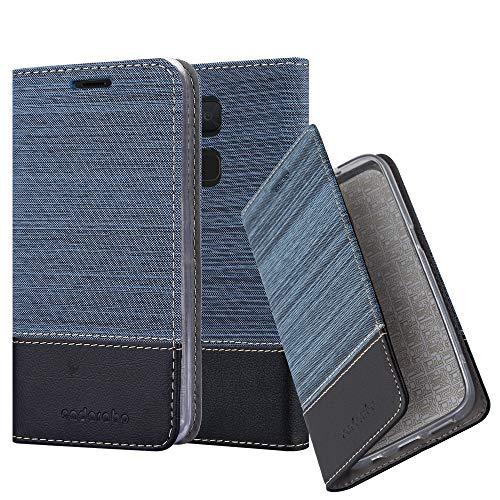 Cadorabo Hülle für BQ Aquaris V/Vs Plus - Hülle in DUNKEL BLAU SCHWARZ - Handyhülle mit Standfunktion & Kartenfach im Stoff Design - Case Cover Schutzhülle Etui Tasche Book