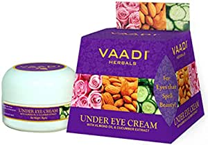 Vaadi Herbals Under Eye Cream, Almond Oil and Cucumber Extract, 30g