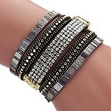 Mehrlagiges, geflochtenes Damenarmband mit Perlen und Magnetverschluss im b�hmischer Stil, von Hand gefertigt, von Mingfa.y, Schwarz , 20*3.8cm Bild