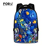 FOR U DESIGNS Classic Undersea World Design Funny School Backpack for College