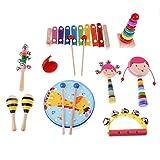 Sharplace Mini Musikinstrument für Kinder Baby, inkl. Hand Tamburin, Sand Hammer, Kastagnetten, Handglocke, Rassel, Tonrohr - 10pcs