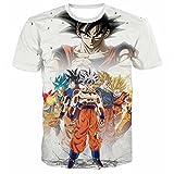 PIZZ ANNU Dragon Ball Series Camiseta Hombre 3D Dragon Ball Impresión Simple Creativo Manga Corta Camiseta 85% poliéster 15% Spandex Verano Ropa de Manga Corta(G15-2 M)