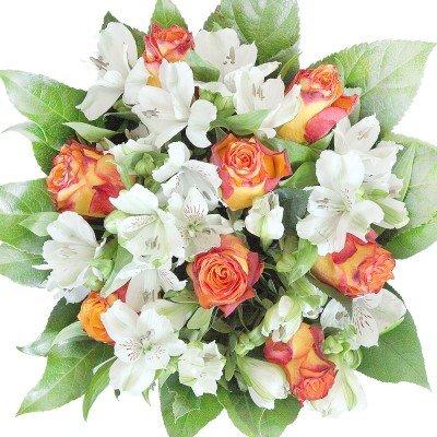 Oranger Blumenstrauß mit orangen Rosen und Alstromerien