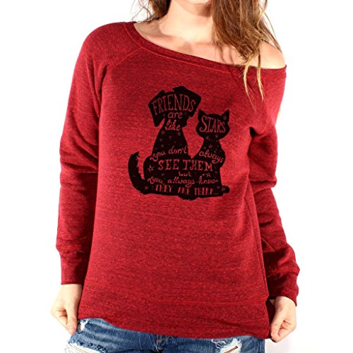 Felpa Fashion DOG AND CAT - CANE E GATTO - DIVERTENTE by Mush Dress Your Style Rosso scuro Triblend