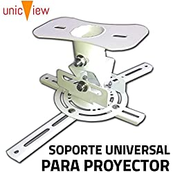 Soporte de Techo para proyector Universal con Giro 360 Grados, preinstalado, hasta 20kg, Color Blanco