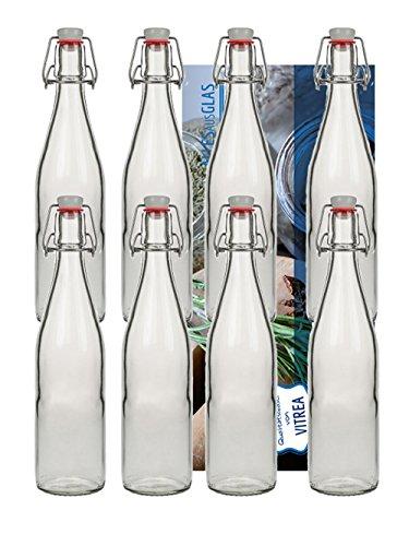 10 Bügelflaschen Glasflaschen 500ml Typ A mit Bügelverschluss zum Selbstbefüllen inklusive einem Einfülltrichter Durchmesser 5 cm Bügelflasche Smoothie Vitrea